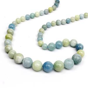 170cts Multi-Colour Aquamarine Graduated Plain Round Approx 6 to 10mm, 38cm