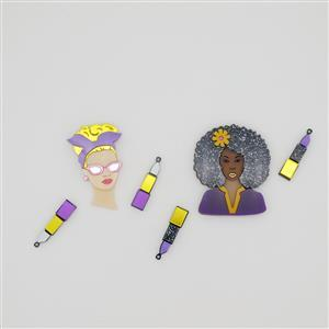 Purple/Yellow: Fashion Brooch & Earrings Set Inc. 2 x brooches & 2 x pairs of earrings