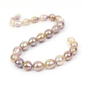 Mixed Natural Metallic Colour Edison Pearls Approx 12-13mm, 38cm Strand