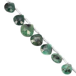 45cts Emerald Top Side Drill Graduated Faceted Heart Approx 7.5 to 11.5mm, 18cm Strand with Spacers