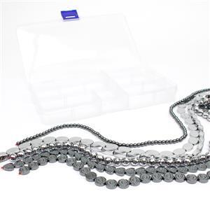 1160cts Silver & Black Haematite, Mix Shapes & Sizes 6 Strands in Total