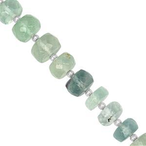 85cts Blue Fluorite Graduated Faceted Rondelle Approx 6x3 to 9x5mm, 21cm Strand with Spacers