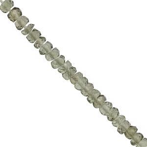 3.75cts Moldavite Graduated Faceted Rondelle Approx 2x1.5 to 2.75x2mm, 7cm Strand with Spacers