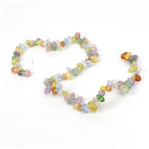 180cts Multi-Colour Cracked Quartz Top-Drilled Small Nuggets Approx 6x4-4x10mm, 38cm strand