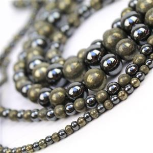 1741cts Pyrite & Haematite Plain Round Approx 4 to12mm, 38cm2 Tone Strand (set of 5)