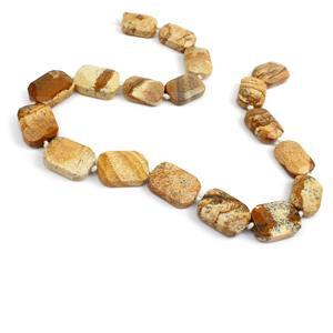 """380cts Picture Jasper Faceted Slabs Approx 13x18-16x22mm 15-16"""" Strand"""