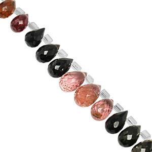 45cts Multi-Colour Tourmaline Top Side Drill Graduated Faceted Drop Approx 5x3 to 9x6mm, 20cm Strand with Spacers