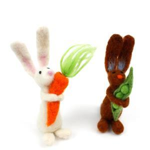 White Bunny Needle Felting Kit with Booklet by Mel Green