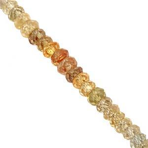30cts Canary Shaded Zircon Graduated Faceted Rondelles Approx 2x1 to 3.5x1mm, 19cm Strand