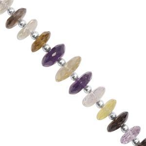 55cts Multi-Colour Gemstone Faceted Wheel Approx 7.5x3 to 12.5x4mm, 16cm Strand with Spacers