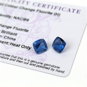 4.3cts Colour Change Fluorite 8x8mm Cushion Pack of 2 (H)
