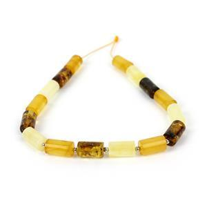 Baltic Multi Colour Amber Barrel Beads with Sterling Silver Spacers Inc. Butterscotch, Earthy, Off-White. Approx. 10x6mm, 20cm Strand