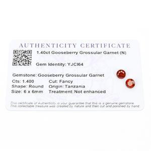 1.4cts Gooseberry Grossular Garnet 6x6mm Round Pack of 2 (N)