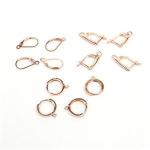 6 Pairs x Rose Gold Plated 925 Sterling Silver Earrings (2 x 12mm Hoops, 2 x 18mm Leverbacks, 2 x Drops)