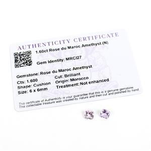 1.6cts Rose du Maroc Amethyst Cushion Brilliant 6x6mm