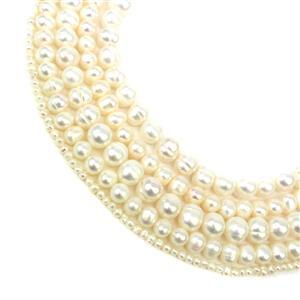 5m of Ivory Freshwater Cultured Potato Pearls 1x1m Strand Approx 3-4mm, 2x1m Strand Approx 6-7mm, 2x1m Strand Approx 8-9mm