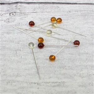 Baltic Multi-Colour Amber 5mm Round Bead Approx 32mm, Sterling Silver Headpins (10pcs)