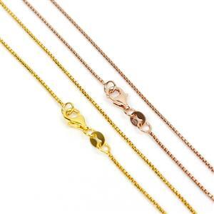 Rose & Gold Plated 925 Sterling Silver Round Box 1.0mm Chain 30""