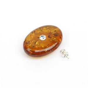 Baltic Cognac CZ Inset Amber Oval Pendant with Sterling Silver Peg, Approx. 20x15mm