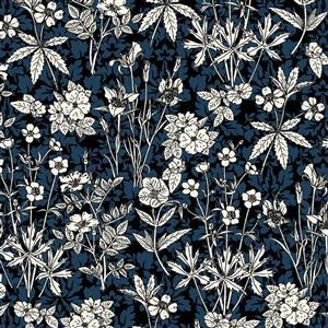 Blue and White Autumn Leaves Fabric 0.5m