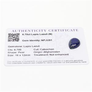 6.7cts Sar-i-Sang Lapis Lazuli 16x12mm Pear  (N)