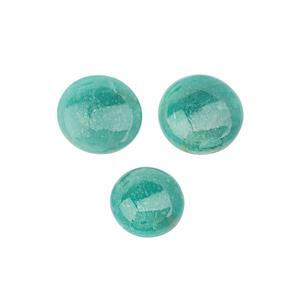 125cts Amazonite Smooth Cabochon Round Approx 23 to 31mm, (Pack of 3)