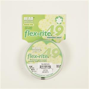 """Flexrite 49 Strand Pearl Silver Micro Wire Approx 0.45mm/0.018"""" 9.14m/30ft"""