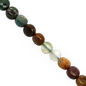 30cts Multi-Colour Agate Faceted Flat Coin Approx 4 to 5mm, 30cm Strand