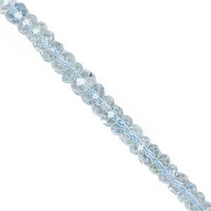 22cts Aquamarine Graduated Faceted Rondelle Approx 2x1 to 4.50x3mm, 20cm Strand