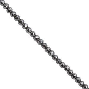 22cts Haematite Micro Faceted Round Approx 2mm, 40cm Strand