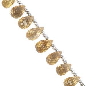 32cts Citrine Faceted Drops Approx 7.2x4mm to 9.5x6.5mm 20cm Strand