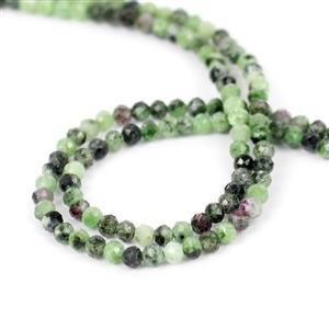 Double Trouble! 2x 15cts Ruby Zoisite Faceted Rounds Approx 2mm, 38cm Strand
