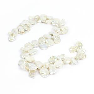White Freshwater Cultured Top Drilled Keshi Pearls Approx 16x10.5-18x13mm, 38cm Strand