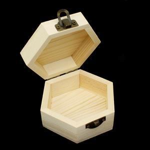 Hexagon Wooden Trinket Box With Hinge 9.5x8.5x5cm (1pk)