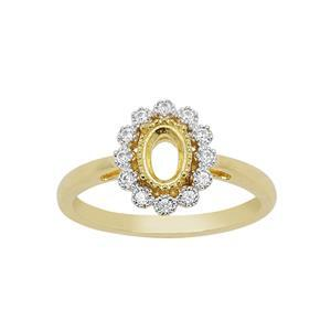 Gold Plated 925 Sterling Silver Oval Ring Mount (To fit 6x4mm gemstones) Inc. 0.18cts White Zircon Brilliant Cut Round 1.30mm- 1 Pcs