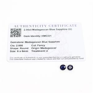2cts Madagascan Blue Sapphire 6x6mm Fancy Pack of 2 (D)