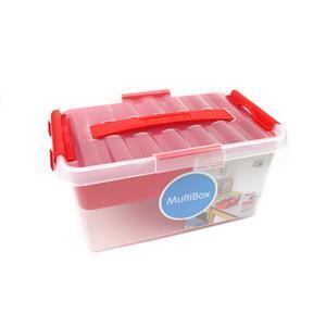 Q-line Red Multi Storage Box With Insert 6L Approx 28.5x19x14cm