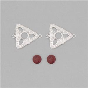 925 Sterling Silver Connector Mount Fits 6mm Round Inc. 1.8cts Garnet 6mm Round with 0.15cts White Topaz Approx 1mm Round (2pcs)