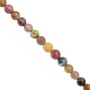 95cts Multi Tourmaline Smooth Round Approx 6 to 6.5mm, 30cm Strand