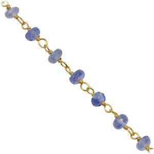 Gold Flash Sterling Silver Tanzanite Beaded Chain, Approx 3mm 20 Inch