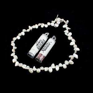 Top Drilled Rice Pearl Kit; Top Drilled Rice Pearls, 38cm Strand & 11/0s