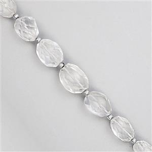 100cts Clear Quartz Graduated Faceted Tumble Approx 12.5x9mm to 19x14mm, 15cm Strand with Spacers
