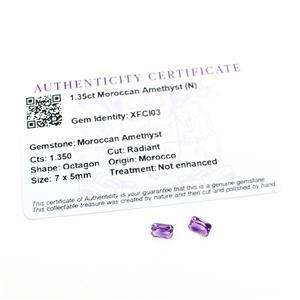 1.35cts Moroccan Amethyst Octagon Radiant 7x5mm