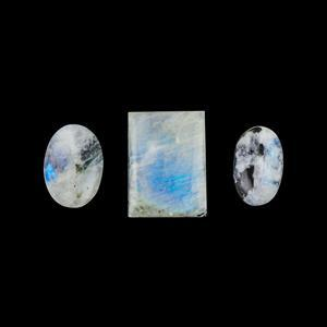 Tourmalinated Rainbow Moonstone Cabochons