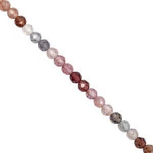 28cts Burmese Multi Colour Spinel Round Faceted Approx 3.5 to 4mm, 20cm Strand