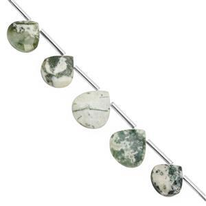 76cts Textured Green Opal Top Side Drill Faceted Heart Approx 10 to 15.50mm, 24cm Strand with Spacers
