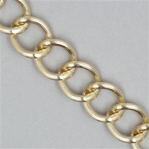 5m Gold Plated Aluminum Alloy Chain Approx 21.5x18.5mm