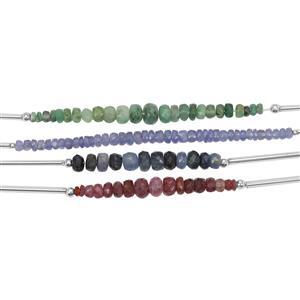 48cts Ruby, Emerald, Sapphire & Tanzanite Graduated Faceted Rondelles Approx 2.50X1 to 3x1.50mm, 10cm Strand (Pack of 4)