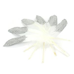 Half Dipped Silver Glitter Feathers - 6PK