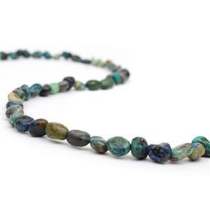 90cts Chrysocolla Small Tumbled Stones Approx 6x9mm, 38cm strand